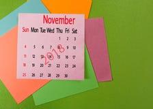 Kalender voor het close-up van November 2018 Stock Foto