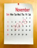 Kalender voor het close-up van November 2018 Royalty-vrije Stock Afbeeldingen