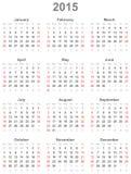 Kalender voor het jaar 2015 Stock Afbeelding