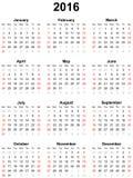 Kalender voor het jaar 2016 Royalty-vrije Stock Foto's