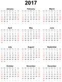 Kalender voor het jaar 2017 Stock Foto