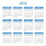 Kalender voor het jaar van 2018 Royalty-vrije Stock Afbeeldingen