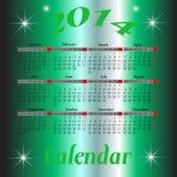 Kalender voor het jaar van 2014 Stock Fotografie