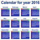 Kalender voor het jaar van 2016. Stock Afbeeldingen