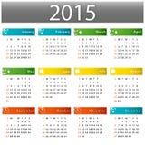 Kalender voor het jaar van 2015 royalty-vrije illustratie