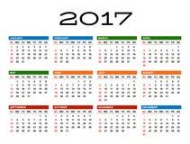Kalender voor het jaar van 2017 Stock Fotografie
