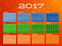 Kalender voor het jaar van 2017 Royalty-vrije Stock Afbeelding