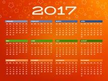 Kalender voor het jaar van 2017 Stock Afbeeldingen