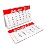 Kalender voor het jaar van 2017 Stock Foto