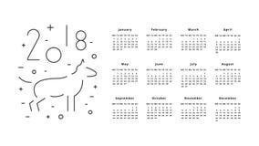 Kalender voor het jaar van 2018 Royalty-vrije Stock Foto's