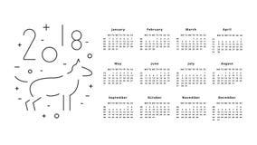 Kalender voor het jaar van 2018 Stock Foto's