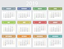 Kalender voor het jaar van 2019 Het begin van de week op Zondag stock illustratie