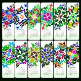Kalender voor het jaar van 2019 Decoratieve Mandala-elementen Het begin van de week op Zondag stock illustratie