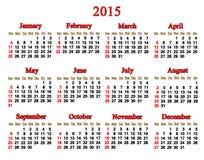 Kalender voor het jaar van 2015 in het Engels Stock Afbeeldingen