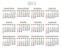 Kalender voor het jaar van 2015 in het Engels en het Frans Stock Foto's