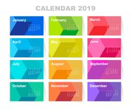 Kalender voor het jaar van 2019 Kleurrijke vectorreeks Het begin van de week op Zondag Malplaatje voor uw ontwerp royalty-vrije illustratie