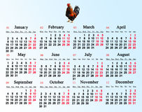 Kalender voor het jaar van 2017 met beeld van haan Royalty-vrije Stock Foto's