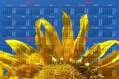 Kalender voor het jaar van 2015 met grote zonnebloem Stock Foto