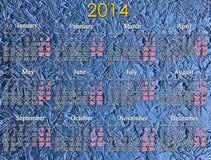 Kalender voor het jaar van 2014 op de blauwe achtergrond Royalty-vrije Stock Foto