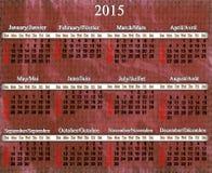 Kalender voor het jaar van 2015 op lilac patroon Stock Foto's