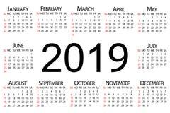 Kalender voor het jaar van 2019 Vector illustratie royalty-vrije illustratie