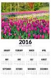Kalender voor 2016 Het landschap van de lente Royalty-vrije Stock Afbeeldingen