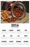 Kalender voor 2016 Ik houd van koffie Stock Foto's