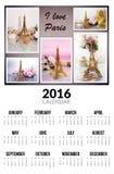 Kalender voor 2016 Ik houd van Parijs Royalty-vrije Stock Foto