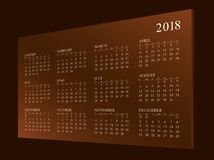 Kalender voor jaar 2018 royalty-vrije stock afbeeldingen