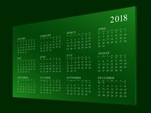 Kalender voor jaar 2018 royalty-vrije stock fotografie