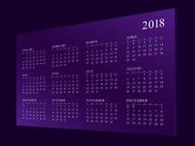 Kalender voor jaar 2018 stock fotografie