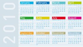 Kalender voor jaar 2010 Stock Foto's