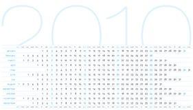 Kalender voor jaar 2010 Stock Fotografie
