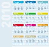 Kalender voor jaar 2010 Royalty-vrije Stock Afbeelding