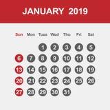 Kalender voor Januari 2019 stock illustratie