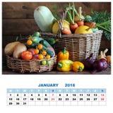 Kalender voor Januari 2018 met stilleven met groenten en a Stock Afbeelding