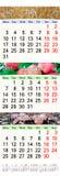 Kalender voor Juli August September 2017 met drie gekleurde beelden Stock Foto