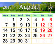 Kalender voor Juli 2017 op de achtergrond van de zomer Stock Afbeeldingen