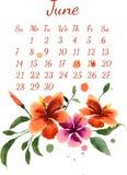 Kalender voor juni 2015 royalty-vrije illustratie