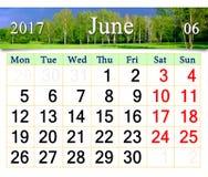 Kalender voor Juni 2017 met de lentebosje Stock Fotografie