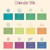 Kalender voor 2016 - malplaatje Stock Foto