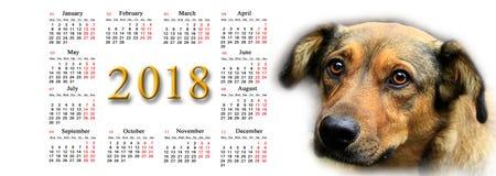 Kalender voor 2018 met aardige hond Royalty-vrije Stock Foto's