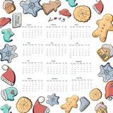 Kalender voor 2019 met hand vector illustratie