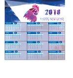 Kalender voor 2018 met Veelhoekhaan Stock Afbeelding