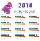 Kalender voor 2018 met Veelhoekhaan Stock Fotografie
