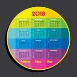 2018 Kalender voor nieuwe jaarviering Stock Afbeelding