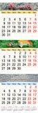 Kalender voor Oktober November en December 2017 met gekleurde beelden Stock Fotografie