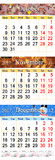 Kalender voor Oktober November en December 2017 met gekleurde beelden Stock Foto