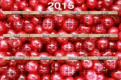 Kalender voor 2015 op de rode kersenachtergrond Stock Afbeelding