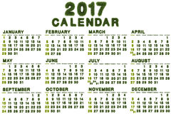 Kalender voor 2017 op witte achtergrond Royalty-vrije Stock Afbeelding
